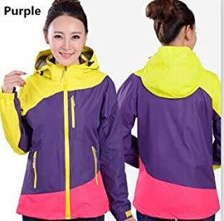 BEESCLOVER New Spring Winter and Autumn Women Patchwork Colorful Windstpper Windbreaker Hiking Camping 3in1 Jacket FRH528A