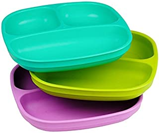 Re-Play Made in USA 3pk Divided Plates with Deep Sides for Easy Baby, Toddler, Child..
