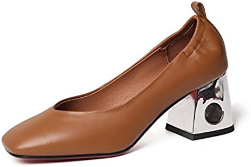AJUNR Moda elegante Transpirable Sandalias Solo zapatos rough Heels cabezas cuadradas de damas salvaje zapatos marrón 7 cm zapatos de tacon alto