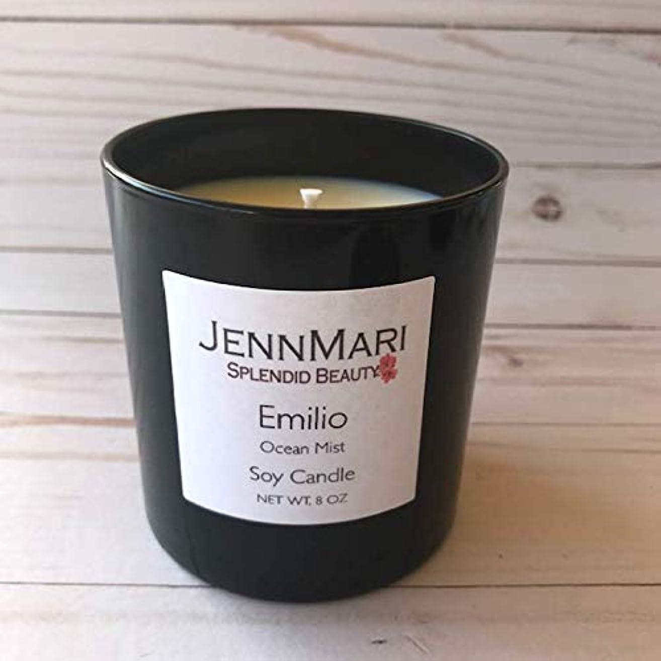 Splendid Beauty   Ocean Mist Scented Soy Candle Glass Jar   10 Oz   Handmade   Eco-friendly   Vegan   Cotton Wick   100% Soy Wax