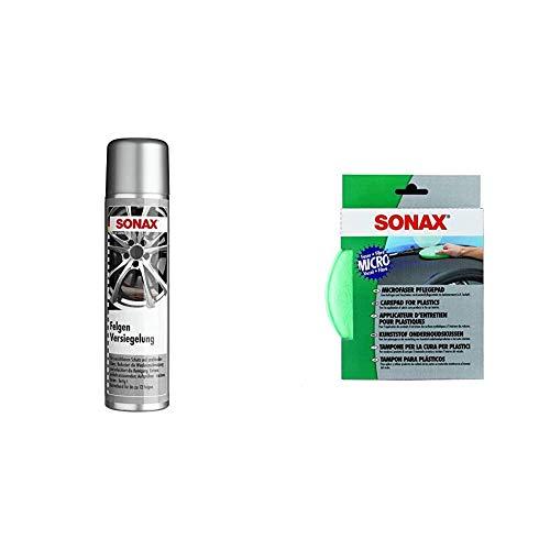 SONAX FelgenVersiegelung (400 ml) mit selbstreinigenden Eigenschaften durch schmutzabweisende Ausrüstung der Oberflächen & MicrofaserPflegePad (1 Stück) für Auftragen von Kunststoffpflegemitteln
