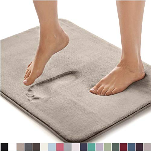 Gorilla Grip Original Thick Memory Foam Bath Rug, 30x20, Cushioned Soft Floor Mats, Absorbent Premium Bathroom Mat Rugs Rugs, Machine Washable, Luxury Plush Comfortable Carpet for Bath Room, Beige