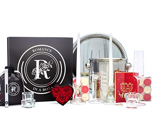 Deluxe Romance-in-a-Box | Romantic Gifts for Her | Anniversary Proposal Decorations | Romance Kit with Romantic Card Romantic Candles and Rose Petals