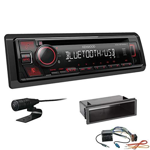 Kenwood KDC-BT440U 1-DIN Autoradio Bluetooth CD USB AUX Einbauset passend für Volkswagen VW T5 Transporter bis 2015 schwarz OEM 1-DIN