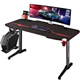 Homall Gaming Desk 55 inch Computer Desk Racing Style Office Table Gamer PC Workstation T-Shaped Game Station with Free Mouse Pad, Gaming Handle Rack, Cup Holder & Headphone Hook(55 Inch, Black)