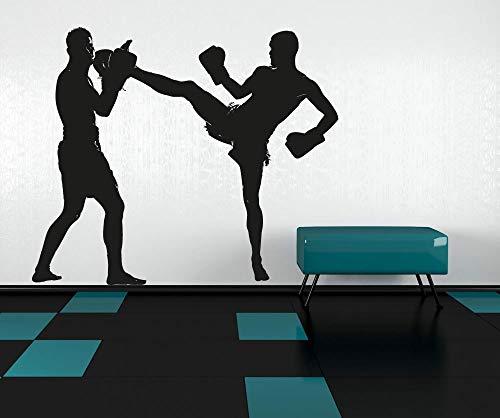 MMA Kampf Boxen Grafik Männer Silhouette Wand Vinyl Aufkleber Aufkleber Decor School Dorm Wohnzimmer Schlafzimmer Home Mural Schablone 58X68CM