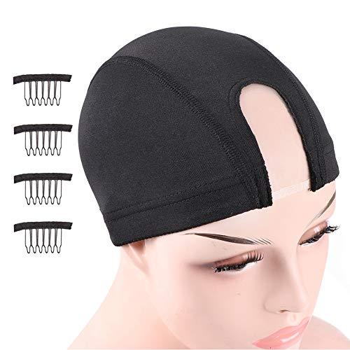 Nunify 2Pcs Large Size U Part Wig Cap For Making Wigs Glueless Spandex Dome Untra Strech Wig Cap Mesh Dome Cap Black Swimming Cap