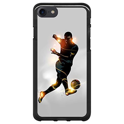 BJJ SHOP Funda Negra para [ iPhone 7 / iPhone 8 ], Carcasa de Silicona Flexible TPU, diseño: Futbolista chutando la Pelota, luz de energia