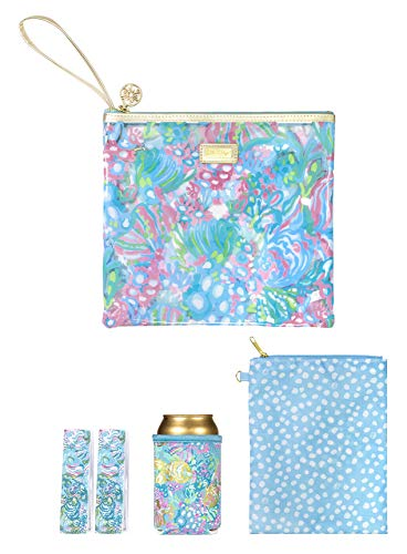 Lilly Pulitzer Blue Water Resistant Vinyl Beach Day Pouch - Includes Drink Hugger, Zip Pouch, and Towel Clips, Aqua La Vista
