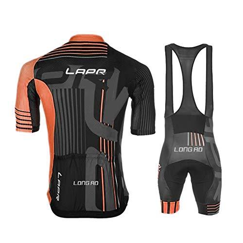 d.Stil Herren Radtrikot Set Kurzarm mit Sitzpolster für MTB Rennrad Fahrrad Jersey + Bib Shorts Radsportanzug M – XXXXL (Grau-Orange, M) - 3