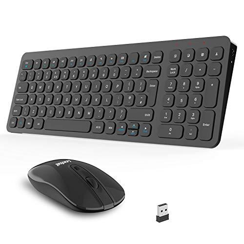 Slim Wireless Keyboard and Mouse Set, 2.4G Cordless QWERTY UK Layout USB...