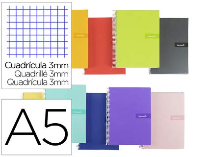 Cuaderno espiral liderpapel a5 crafty tapa forrada 80h 90 gr cuadro 3 mm con margen colores surtidos. (5 Unidades)