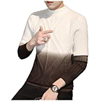 Nicellyer Men's Knitwear Fit Relaxed Mock Neck Knit Pullover Top Blouse AS3 S