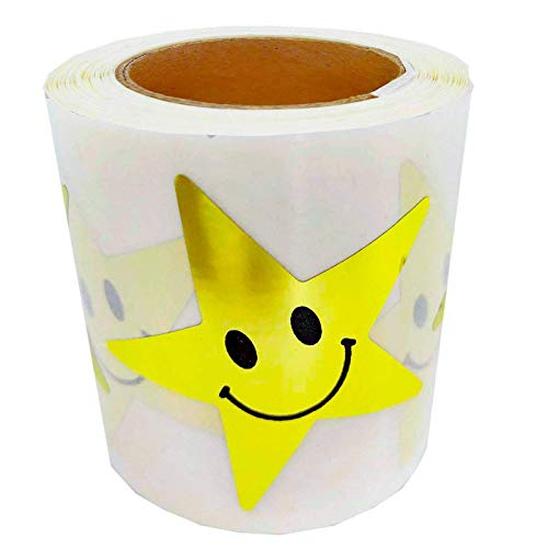 Besttile 2 Inch Gold Metallic Foil Star Shape Sticker Labels with Happy Smile Packaging Seals Crafts 250 Labels Per Roll.