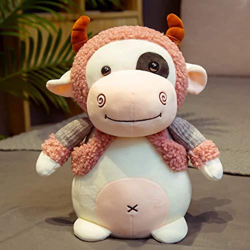Bonita mueca de ternera vestida vaca Niuniu de peluche de juguete almohada para dormir mueca mueca nia regalo de cumpleaos 35Cm