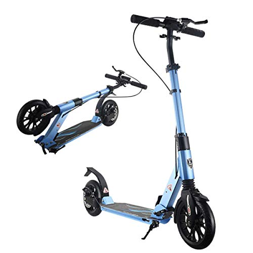 Muzyo Kids' Scooters with Adjustable Handlebar Foldable Frame Adult Scooter Lightweight 2-Wheels City Commuter with Disc Handbrake Street Push Scooter for Adults Teens Ages 8+