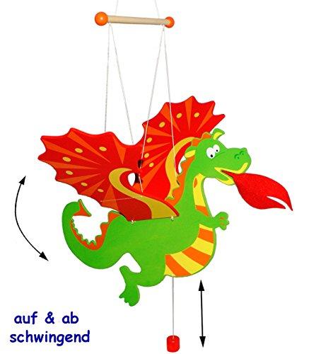 alles-meine.de GmbH Schwingtier / bewegliches Holzmobile -  Drache  - Unruhe aus Holz - Spielzeug Windspiel / Tiere - Schwingfigur - Mobile Baby & Kinder - Windspiel - Traumfän..
