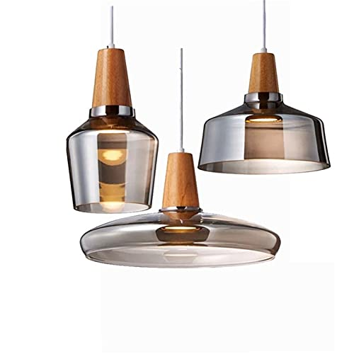 ZTKBG Mesa de Comedor lámpara Colgante humy/Transparente araña de Madera decoración lámpara Vidrio lámpara Colgante para Comedor Dormitorio Sala de Estar Cocina Isla (Color : Gray-3 Light)