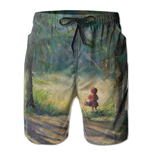 Men's Sports Beach Shorts Board Shorts,Watercolor Ancient Traditional Story Illustration Girl with Red Dress Brush Strokes,Surfing Swimming Trunks Bathing Suits Swimwear,XL