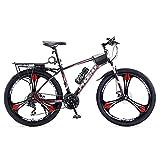 MENG 26 en Rueda Dual Disc Freno Mens Mountain Bike Bike Carbon Acero M24 Velocidad Al Aire Libre Deporte Ciclismo Ciclismo Bicicletas Motos Ejercicios/Rojo/24 Velocidades