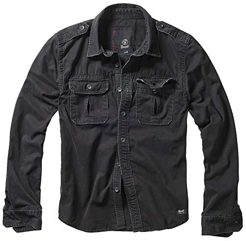 Brandit Vintage Shirt Longsleeve Camicia, Schwarz, 5XL Uomo