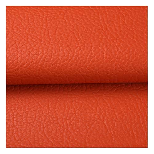 Tela de Cuero PU 140X100cm Material de Cuero Sintético con Patrón de Litchi, para Reparación de Sofás, Costura, Manualidades, Proyectos de Bricolaje,12#Orange