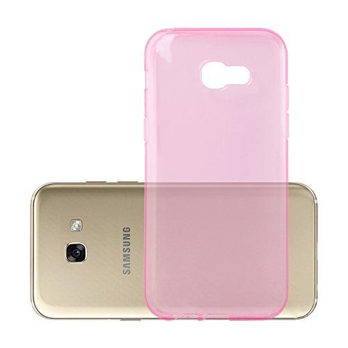 Preisvergleich Produktbild Cadorabo Hülle für Samsung Galaxy A3 2017 (7) - Hülle in TRANSPARENT PINK Handyhülle aus TPU Silikon im Ultra Slim 'AIR' Design - Silikonhülle Schutzhülle Soft Back Cover Case Bumper