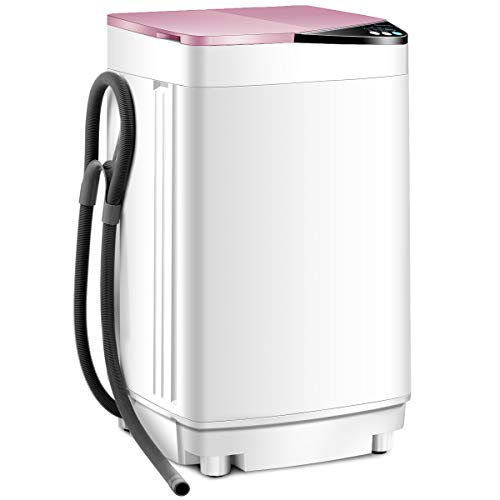RELAX4LIFE Washing Machine Portable Washer W/ 10 Lbs Weight Capacity Washer and Dryer Full Automatic Washing Machine (Pink&White)