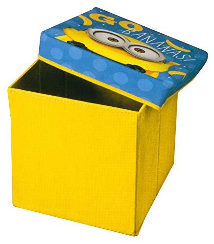 Brandsseller Kinder Sitzkiste Aufbewahrung-Box mit Deckel Motiv Minion 30x30x30 cm Gelb