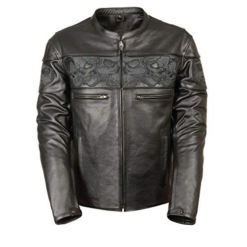 Men's Biker Vintage Cafe Racer Black Skull Designed Motorcycle Leather Jacket