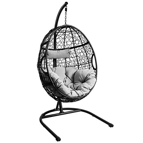Giantex Hanging Egg Chair, Swing Chair with C Hammock Stand Set, Hammock Chair with Soft Seat Cushion & Pillow, Multifunctional Hanging Chairs for Outdoor Indoor Bedroom (Gray)