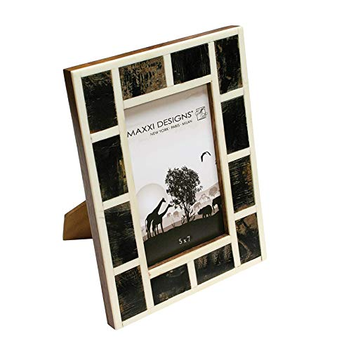 Maxxi Designs Safari Natural Horn & Bone Photo Frame with Easel Back, 8' x 10'