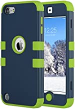 ULAK iPod Touch 7 Case, 3 in 1 Hard PC Case with Shockproof Silicone Interior Heavy Duty High Impact Dual Layer Protective Case for Apple iPod Touch 7th/6th/5th Generation, Green