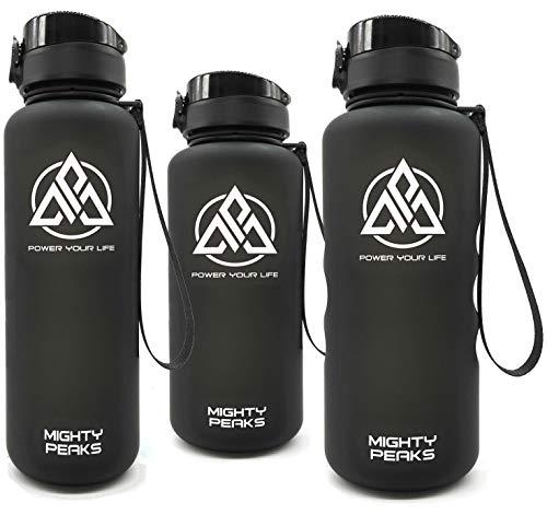 MIGHTY PEAKS Tritan Sport-Trinkflasche 650ml BPA frei, Fruchteinsatz, Fruchtsieb, Black, Schwarz, Trinkflasche Kinder, Plastikflasche, Sportflasche für Fahrrad, Fitness, Kinder, Sport