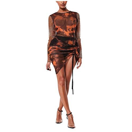 TWIFER Damen Leopard Nähte Kleid Oansatz Langarm Kleider Knielanges Braukleid (a-Braun,L)
