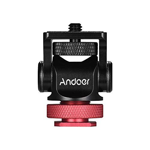Andoer 180°Mini Kugelkopf Montageadapter Blitzschuh Calient 1/4 Zoll Schraube mit Schlüssel für DSLR Kamera Mikrofon LED Video Stativ Monitor Monopod (rot)