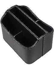حامل جهاز تحكم عن بعد دوار PS01 مع 5 حجرات - حقيبة دوارة من جلد البولي يوريثان لتنظيم سطح المكتب والتلفزيون وDVD وبلو راي ومشغل وسائط وأجهزة تحكم في السخان