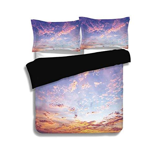 Ensemble de housse de couette noir, bleu marine et fard à joues, vue du ciel éthéré et des nuages rosâtres Soleil, vue panoramique paisible, décoratif, rose violet bleu, ensemble de literie 3 pièces