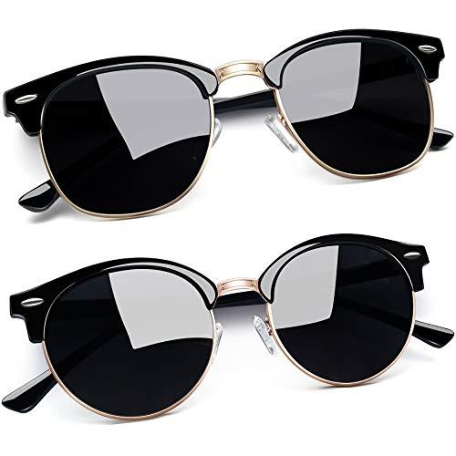 Joopin Óculos de Sol Feminino Marca Masculina Polarizado Semi Sem aro Espelhados Óculos de Sol Proteção UV (Ouro Preto Brilhante + Elíptico Preto)