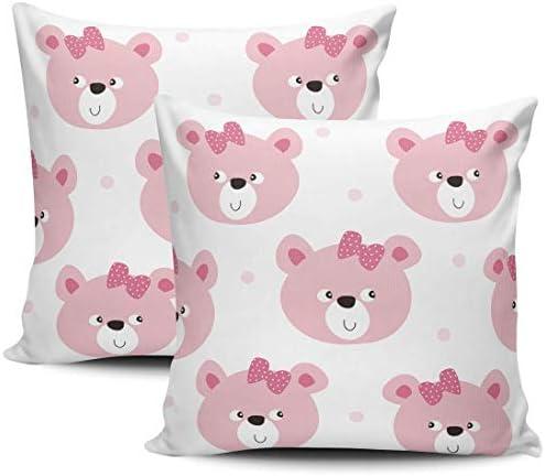 Home Set van 2 kussenslopen Roze teddybeer Hoezen van 18 x 18 inch