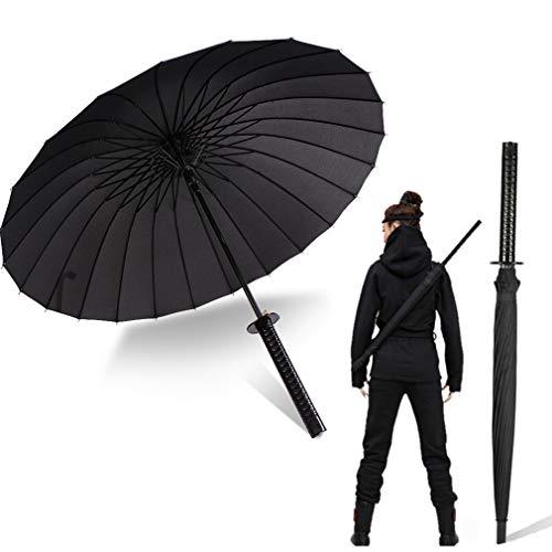 Langer Griff Regenschirm Samuraischwert Outdoor Sonne & Regen Regenschirm Winddicht Wasserdicht Personalisiert Anime Schwarz Gerade Regenschirm 16 oder 24 Rippen, Schwarz (Schwarz) - VL-GDUO-WAVS