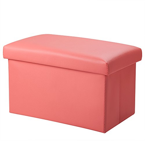 Inoutdoorkit Foldable Leather Storage Ottoman Bench Footrest Stool, Coffee Table...