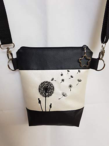 Kleine Handtasche Pusteblume Umhängetasche Schultertasche Tasche mit Anhänger handmade Kunstleder weiss