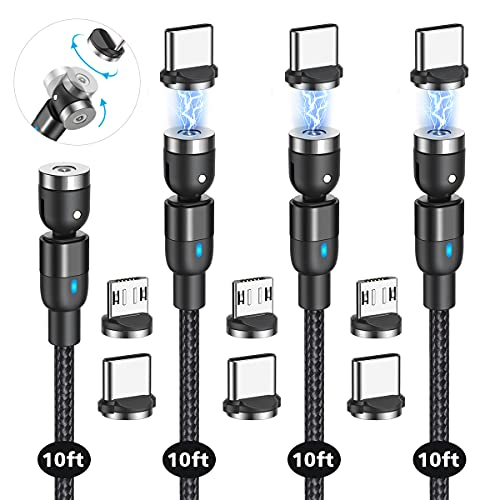 Magnetic Charging Cable(4 Pack 10ft+10ft+10ft+10ft), 540°Degree Rotation Magnetic USB Cable, CJOY Nylon Braided Magnetic Phone Charger, Charging Cable for Type C, Micro USB