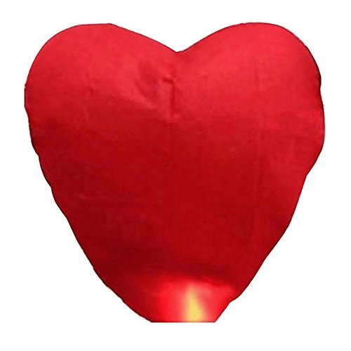 Pixnor - Farolillos voladores con forma de corazón rojo (10 unidades), diseño tradicional chino