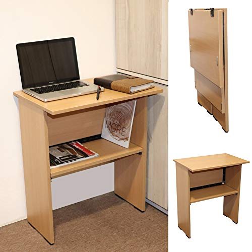 Spacecrafts Work from Home Folding Computer Table for Laptop Study Office Desk (Beige)