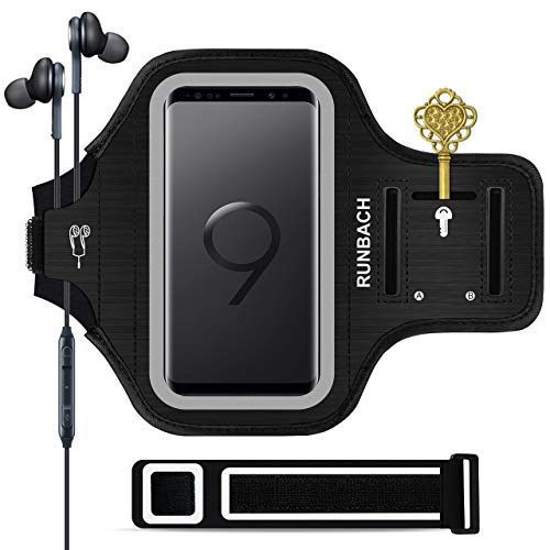 Galaxy S9 Armband,RUNBACH Sweatproof Running Exercise Gym Cellphone Sportband Bag with Fingerprint Touch/Key Holder and Card Slot for Samsung Galaxy S9 (Black)