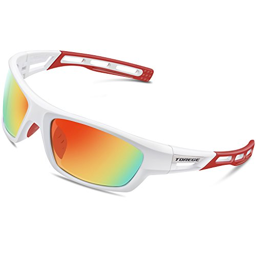 TOREGE Polarized Sports Sunglasses for Men Women Cycling Running Driving Fishing Golf Baseball Glasses EMS-TR90 Unbreakable Frame TR007 (White&Red&Red Lens)