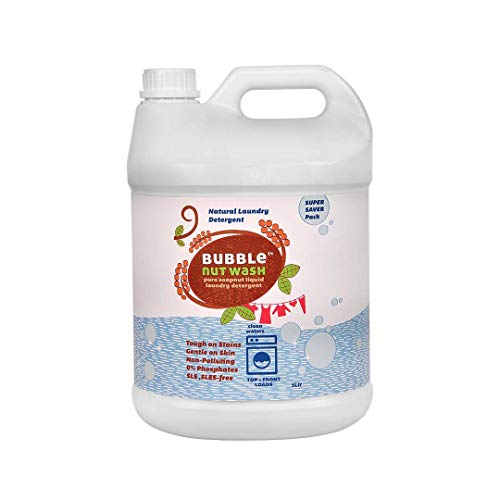 BubbleNut Wash Laundry Detergent Liquid (5 Litres) - Natural, Organic, Baby safe, Soap nuts based (5 Lits), Sensitive Skin,...