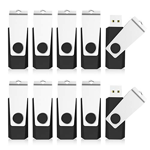 KEXIN Bulk USB 50 Pack 1GB USB Flash Drives Flash Drive Thumb Drive Bulk Flash Drives Swivel USB 2.0 (1G, 50PCS, Black)